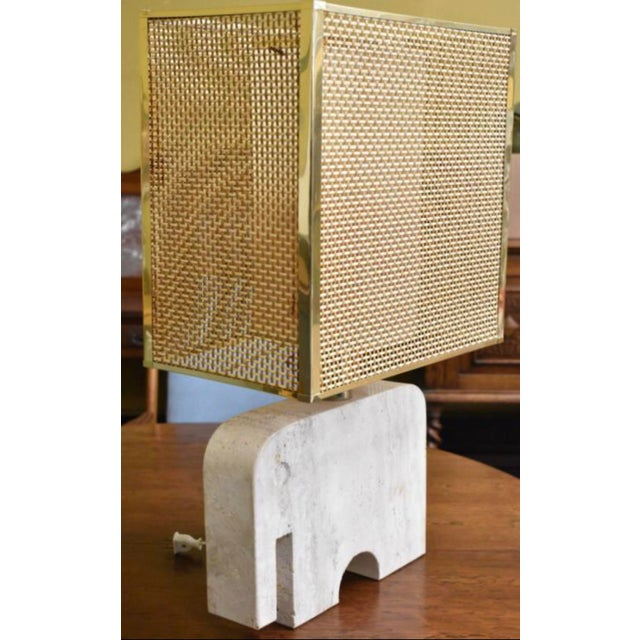 Italian Vintage Italian Mid Century Table Desk Travertine Lamp by Fratelli Manelli With Brass Wicker Box Shade For Sale - Image 3 of 3