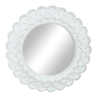 White Framed Round Wall Mirror For Sale