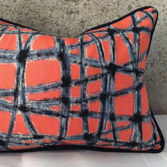 Mid-Century Abstract Navy & Coral Throw Pillows - A Pair - Image 2 of 5