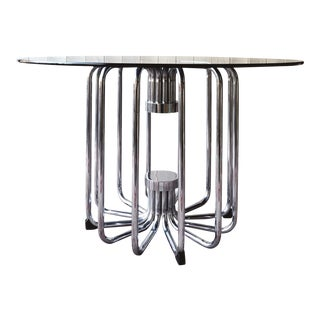 Mid Century Italian Chrome and Glass Dining Table For Sale