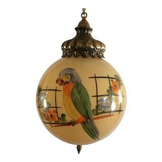 1950's Swag Pendant Light Hand Painted Parrot