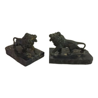 1930's Brass and Marble Lion Bookends - a Pair For Sale