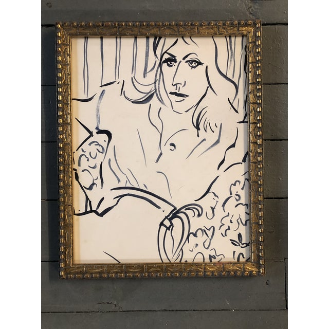 Vintage Original Matisse Style Blue Painting of Woman For Sale - Image 4 of 4