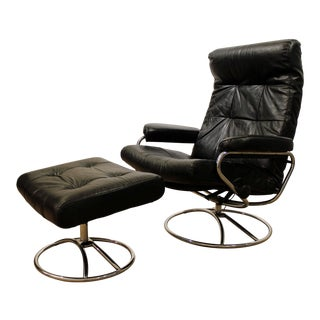 Mid-Century Danish Modern Ekornes Stressless Chrome Lounge Chair & Ottoman