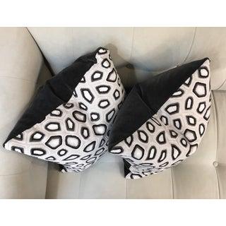 Kravet Couture Pillows in Tortoise & Dark Gray Velvet - A Pair Preview