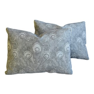 """Designer Peacock Feather Linen Feather/Down Pillows 22"""" X 16"""" - Pair For Sale"""