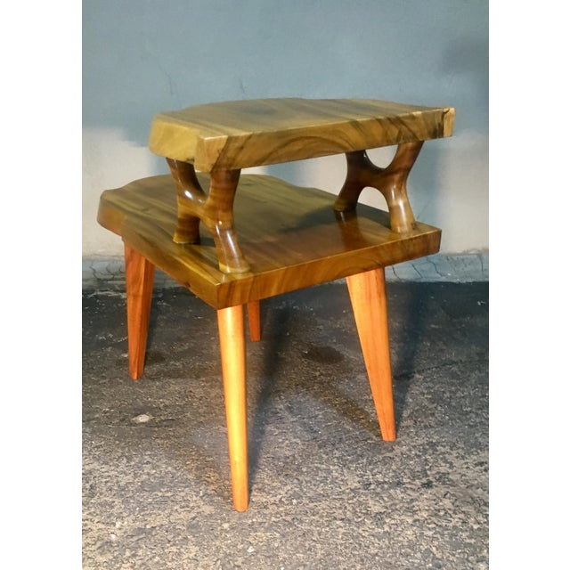 1980s 1960s Organic Modern Solid Slab Koa Wood 2-Tiered End Table For Sale - Image 5 of 12
