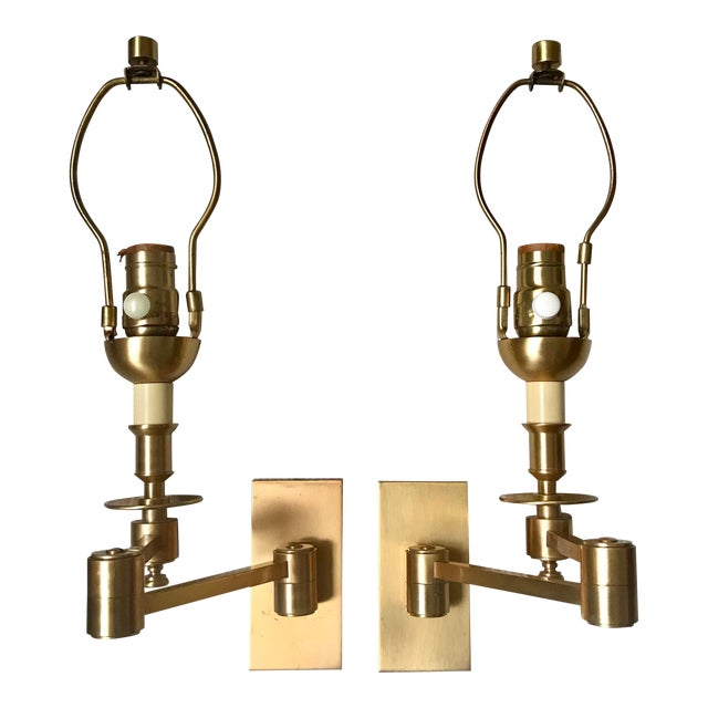 1970s Hinson Style Brass Swing Arm Wall Sconces - a Pair For Sale