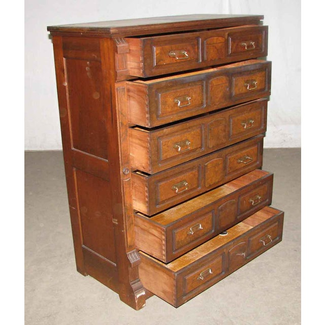 Traditional Stately Walnut Burled Panel Dresser For Sale - Image 3 of 10
