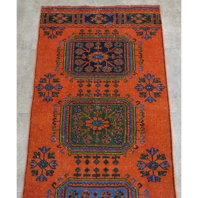"Distressed Oushak Rug Runner - 3'1"" x 11'4"" - Image 5 of 10"