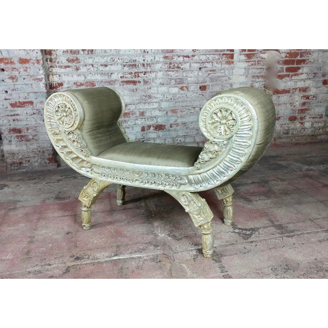 Textile Silver Gilt & Upholstery Vintage Bed or Window Bench For Sale - Image 7 of 10