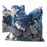 Image of Schumacher Pillows in Chiang Mai Blue & White Linen - a Pair For Sale