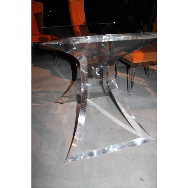 Silver Vintage Lucite & Chrome Butterfly Dining Table Base Desk For Sale - Image 8 of 10