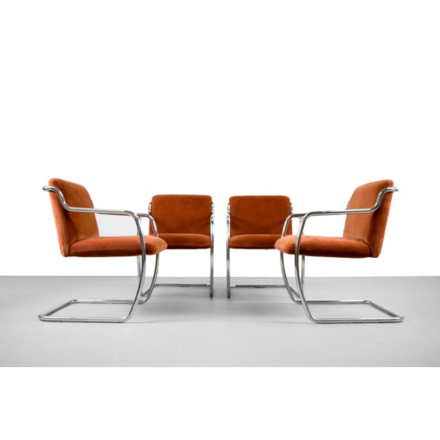 Brueton Chrome and Velvet Dining or Conference Chairs - Image 5 of 11
