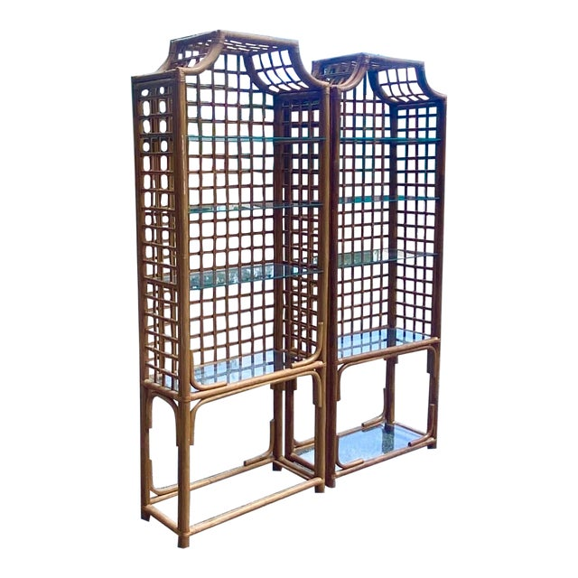 Vintage Hollywood Regency Bamboo Pagoda Etagere - a Pair For Sale