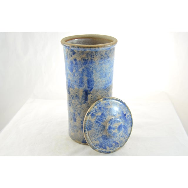 Boho Chic Farmhouse Blue Sponged Stoneware Jar For Sale - Image 3 of 5