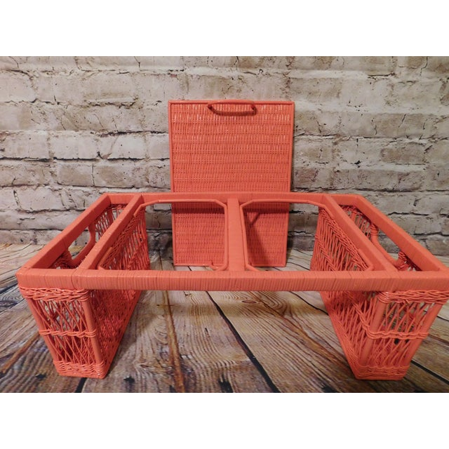 Vintage Coral Painted Wicker Bed Tray - Image 2 of 7