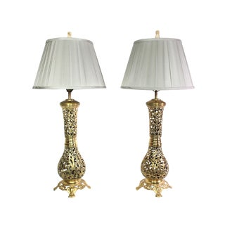 Vintage Solid Filigree Brass Lamps With Celadon Silk Shades & Bone Foo Dog Finials - a Pair For Sale