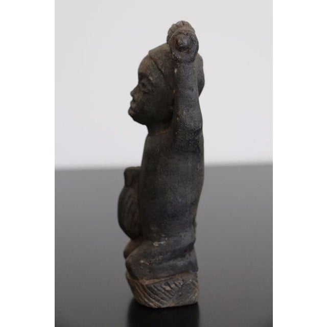 African Tribal Art The Worker Statue Carved Stone Figurine For Sale - Image 4 of 6