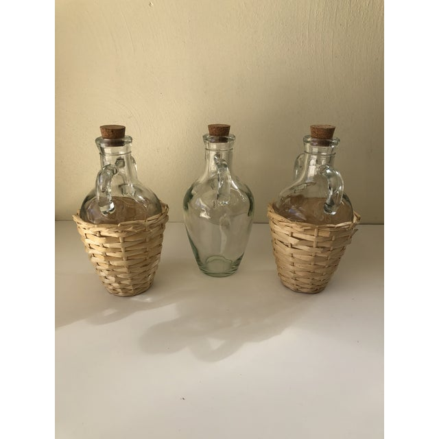 Glass Wicker Wrapped Demijohn Bottles - Set of 3 For Sale - Image 7 of 13
