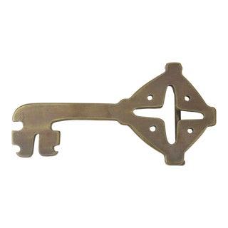 1970s Artisan Brass Key Belt Buckle For Sale