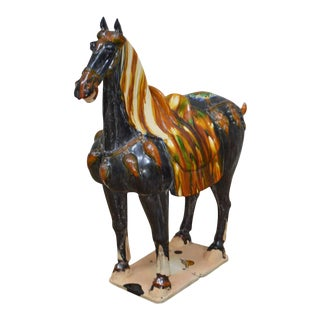 Tang Dynasty Style Glazed Pottery Horse Statue For Sale