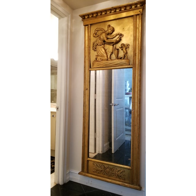 Early 19th Century Tall Antique French Golt Gold Trumeau Mirror For Sale - Image 5 of 13