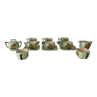 California Modern Green Rose Pottery Coffee Set Weil Ware (20) For Sale