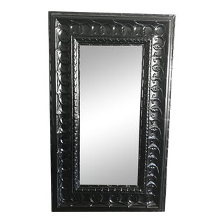 19th Century Antique Tin Ceiling Tile Ebony Floor Mirror For Sale