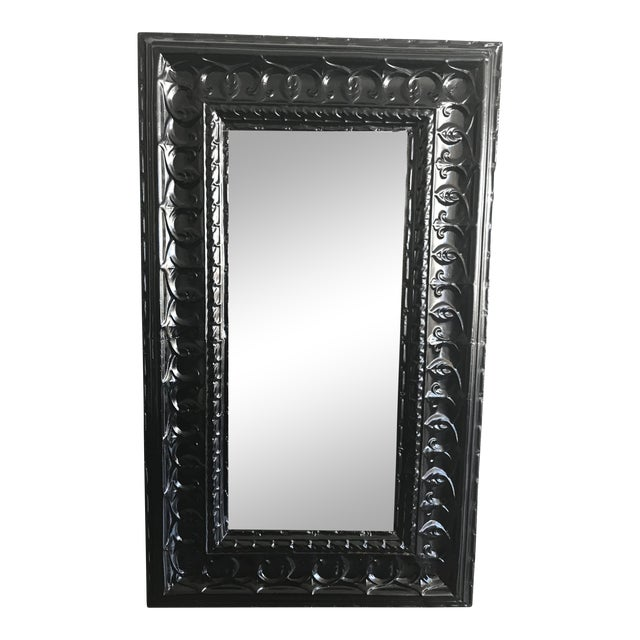 19th Century Antique Tin Ceiling Tile Ebony Floor Mirror For Sale