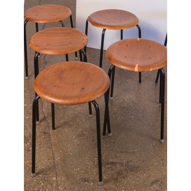 Set of six vintage Arne Jacobsen Dot Stools. Price is for the set. These pretty circular wooden tools have been lovingly...