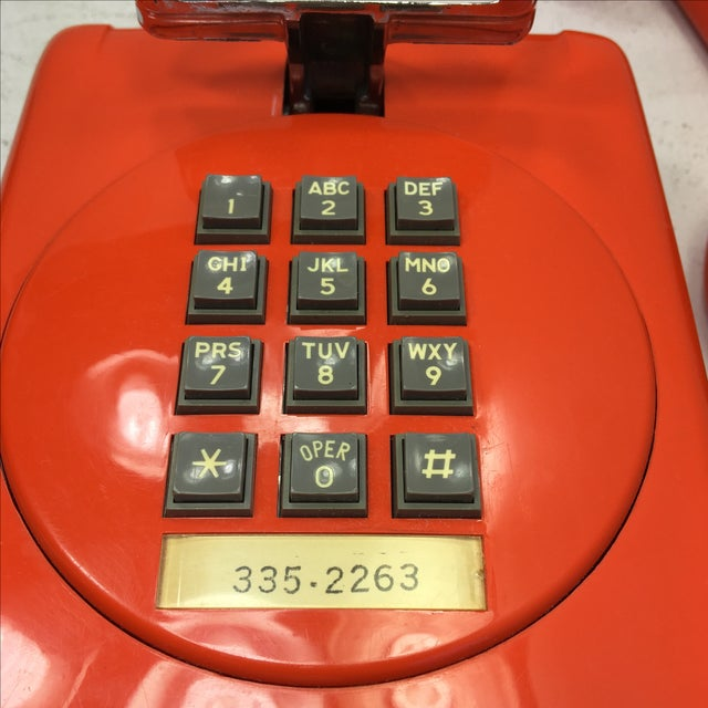 Bright Orange Push Button Wall Phone For Sale - Image 9 of 11