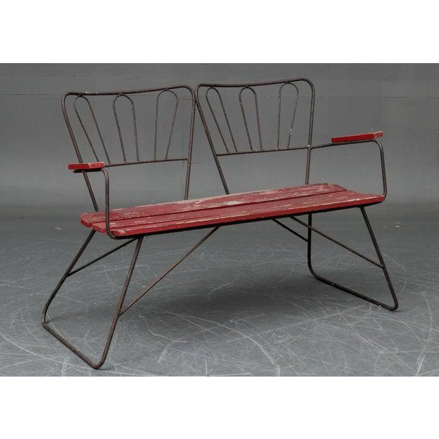1950s Mid Century Garden Steel Bench Settee For Sale - Image 5 of 5