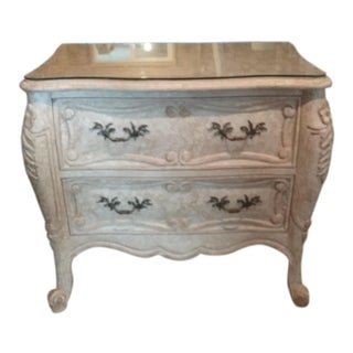 French Provincial Fremarc Designs Crackle Paint 2 Drawer Table With Custom Cut Glass Top For Sale