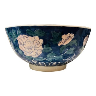 Vintage Chinoiserie Ceramic Bowl For Sale