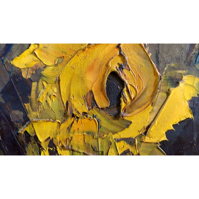 Mid-Century Palette Knife Floral Painting - Image 6 of 10