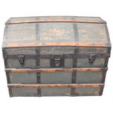 Image of 19th Century Original Green Painted Dome Top Trunk For Sale