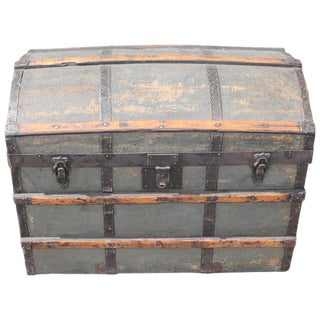 19th Century Original Green Painted Dome Top Trunk For Sale