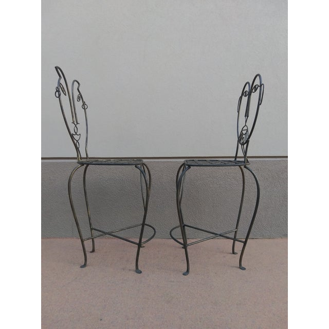 Black John Risley Style Sculptural Figural Wrought Iron Bar Stools - a Pair For Sale - Image 8 of 13