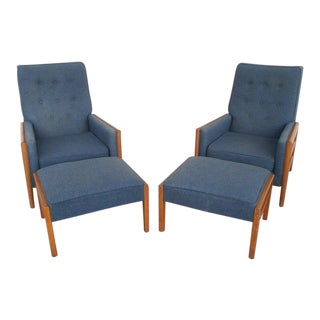 Mid-Century Robsjohn Gibbings Widdicomb Lounge Chairs With Attributed Ottomans - a Pair For Sale