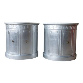 Pair of Mid-Century Hollywood Regency Marble Top Silver Leaf Greek Key Drum Tables For Sale