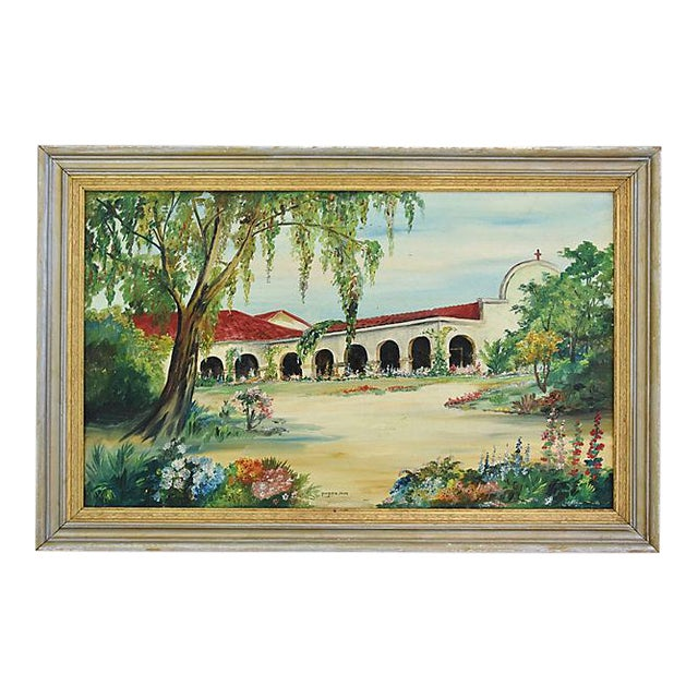 Mid-Century Framed San Juan Capistrano Mission Oil Painting by Georgiana Hehr For Sale