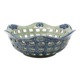 Vintage Celadon & Blue Perforated Ceramic Bowl