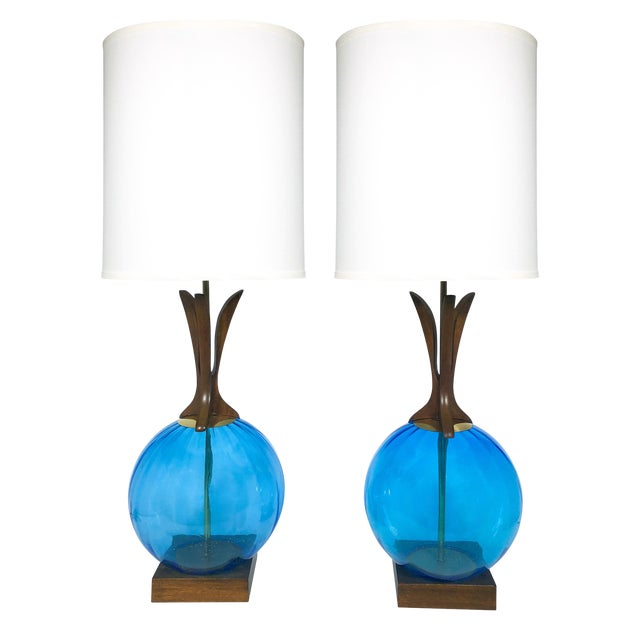 Danish Mid Century Walnut and Blue Glass Lamps - a Pair For Sale