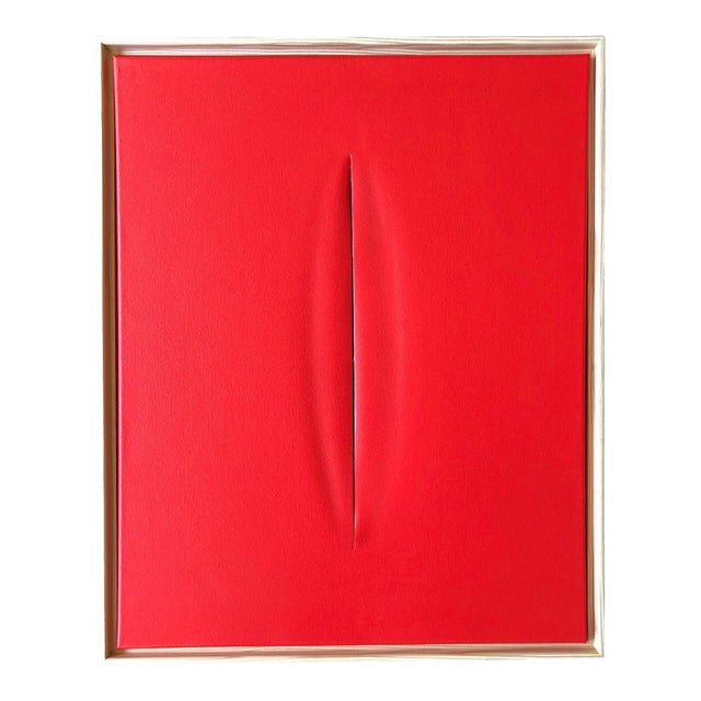 Red Slice Modern Art Painting by Tony For Sale