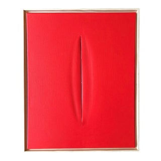Unique Red Slice Modern Art Painting by Tony For Sale