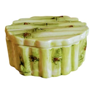 Faux Bamboo Pale Green Ceramic Round Small Trinket Box For Sale