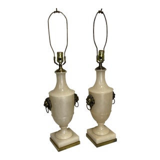 Paul Hanson Neoclassical Marble Iron Lamps - a Pair For Sale