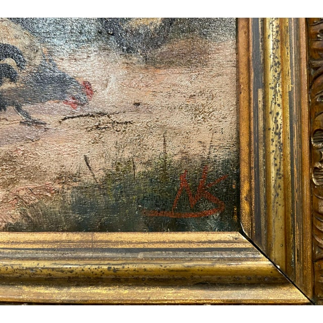 Mid-19th Century French Oil on Board Chicken Painting in Carved Gilt Frame For Sale - Image 4 of 10