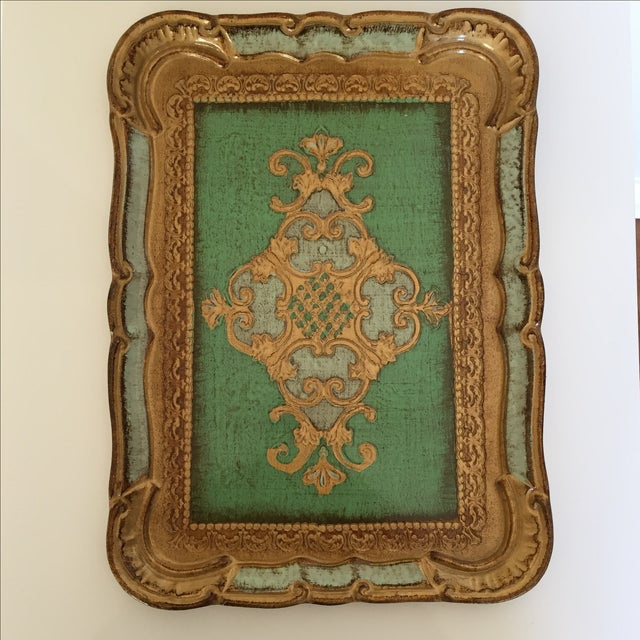 Green & Gold Italian Florentine Tray - Image 4 of 6